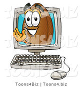 Illustration of an American Football Mascot Waving from Inside a Computer Screen by Toons4Biz