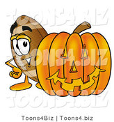 Illustration of an American Football Mascot with a Carved Halloween Pumpkin by Toons4Biz