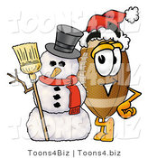 Illustration of an American Football Mascot with a Snowman on Christmas by Toons4Biz