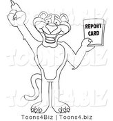 Line Art Vector Illustration of a Cartoon Panther Mascot Holding a Report Card by Toons4Biz