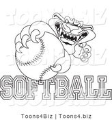 Line Art Vector Illustration of a Cartoon Panther Mascot with Softball Text by Toons4Biz