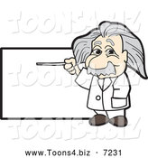 Vector Illustration of a Albert Einstein Scientist Pointing to a Sign by Toons4Biz