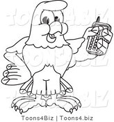 Vector Illustration of a Bald Eagle Holding a Cell Phone Outline by Toons4Biz