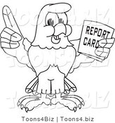 Vector Illustration of a Bald Eagle Holding a Report Card Outline by Toons4Biz
