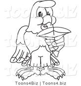 Vector Illustration of a Bald Eagle Holding a Shark Tooth Outline by Toons4Biz