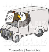 Vector Illustration of a Bald Eagle Mascot Driving a Delivery Van by Toons4Biz