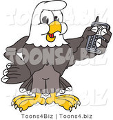 Vector Illustration of a Bald Eagle Mascot Holding a Cell Phone by Toons4Biz
