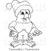 Vector Illustration of a Bald Eagle Wearing a Santa Hat Outline by Toons4Biz