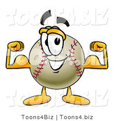 Vector Illustration of a Baseball Mascot Flexing His Arm Muscles by Toons4Biz