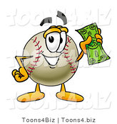 Vector Illustration of a Baseball Mascot Holding a Dollar Bill by Toons4Biz