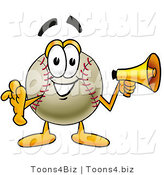 Vector Illustration of a Baseball Mascot Holding a Megaphone by Toons4Biz