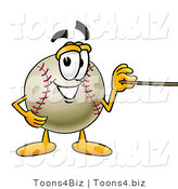 Vector Illustration of a Baseball Mascot Holding a Pointer Stick by Toons4Biz