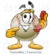 Vector Illustration of a Baseball Mascot Holding a Telephone by Toons4Biz
