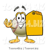 Vector Illustration of a Baseball Mascot Holding a Yellow Sales Price Tag by Toons4Biz