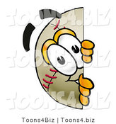 Vector Illustration of a Baseball Mascot Peeking Around a Corner by Toons4Biz