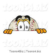 Vector Illustration of a Baseball Mascot Peeking over a Surface by Toons4Biz