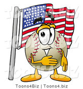 Vector Illustration of a Baseball Mascot Pledging Allegiance to an American Flag by Toons4Biz