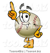 Vector Illustration of a Baseball Mascot Pointing Upwards by Toons4Biz