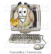 Vector Illustration of a Baseball Mascot Waving from Inside a Computer Screen by Toons4Biz