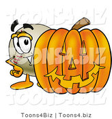 Vector Illustration of a Baseball Mascot with a Carved Halloween Pumpkin by Toons4Biz
