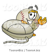 Vector Illustration of a Baseball Mascot with a Computer Mouse by Toons4Biz