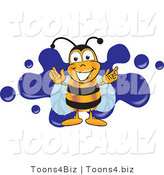 Vector Illustration of a Bee Smiling over Blue SplattersBee Smiling over Blue Splatters by Toons4Biz