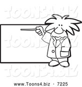 Vector Illustration of a Black and White Albert Einstein Scientist Pointing to a Sign by Toons4Biz