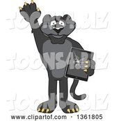 Vector Illustration of a Black Panther School Mascot Confessing to Breaking a Tablet, Symbolizing Integrity by Toons4Biz
