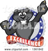 Vector Illustration of a Black Panther School Mascot Holding up a Finger on an Excellence Badge by Toons4Biz