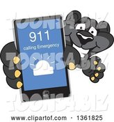 Vector Illustration of a Black Panther School Mascot Holding up a Smart Phone and Calling an Emergency Number, Symbolizing Safety by Toons4Biz