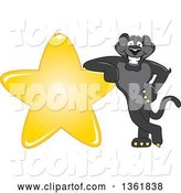 Vector Illustration of a Black Panther School Mascot Leaning on a Star, Symbolizing Excellence by Toons4Biz