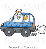 Vector Illustration of a Blimp Mascot Driving a Blue Car and Waving by Toons4Biz