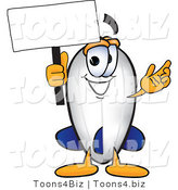Vector Illustration of a Blimp Mascot Holding a Blank White Sign by Toons4Biz