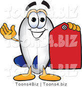 Vector Illustration of a Blimp Mascot Holding a Red Clearance Price Tag by Toons4Biz