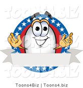Vector Illustration of a Blimp Mascot Logo with Stars and a Blank Ribbon by Toons4Biz
