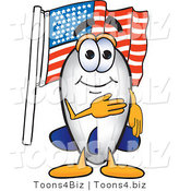 Vector Illustration of a Blimp Mascot Pledging Allegiance to the American Flag by Toons4Biz