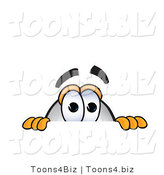 Vector Illustration of a Blimp Mascot Scared and Peeking over a Surface by Toons4Biz
