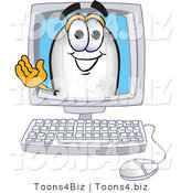 Vector Illustration of a Blimp Mascot Waving from a Computer Screen by Toons4Biz