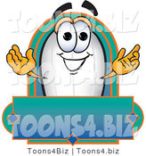 Vector Illustration of a Blimp Mascot with a Blank Label by Toons4Biz
