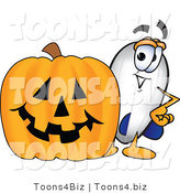 Vector Illustration of a Blimp Mascot with a Carved Halloween Pumpkin by Toons4Biz