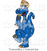 Vector Illustration of a Blue Cartoon Dragon Mascot Batting During a Baseball Game by Toons4Biz