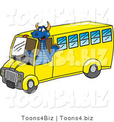 Vector Illustration of a Blue Cartoon Dragon Mascot Driving a School Bus by Toons4Biz