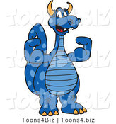 Vector Illustration of a Blue Cartoon Dragon Mascot Flexing by Toons4Biz