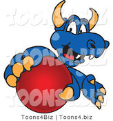 Vector Illustration of a Blue Cartoon Dragon Mascot Grabbing a Ball by Toons4Biz