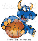 Vector Illustration of a Blue Cartoon Dragon Mascot Grabbing a Basketball by Toons4Biz