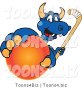 Vector Illustration of a Blue Cartoon Dragon Mascot Grabbing a Field Hockey Ball by Toons4Biz
