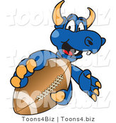 Vector Illustration of a Blue Cartoon Dragon Mascot Grabbing a Football by Toons4Biz