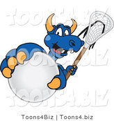 Vector Illustration of a Blue Cartoon Dragon Mascot Grabbing a Lacrosse Ball by Toons4Biz