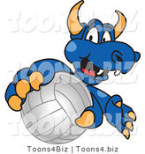 Vector Illustration of a Blue Cartoon Dragon Mascot Grabbing a Volleyball by Toons4Biz