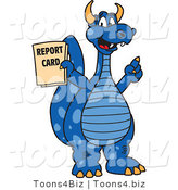 Vector Illustration of a Blue Cartoon Dragon Mascot Holding a Report Card by Toons4Biz